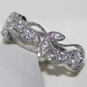 White Gold Fill Clear Crystal CZ Band Fashion Ring